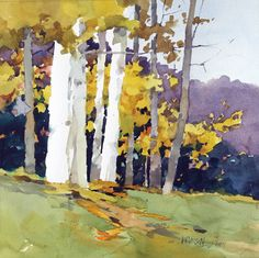 Three Birches, watercolor by Bill Vrscak