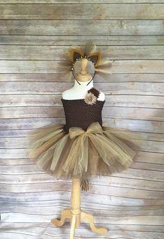 Lion costume - lion tutu -  halloween costume - brown lion dress - lion…