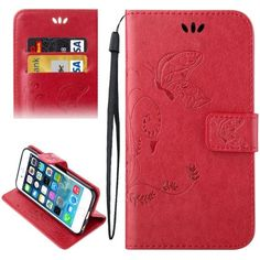 For+iPhone+5/5S/SE+Red+Leather+Case+with+Holder+&+Card+Slots+&+Wallet+&+Lanyard