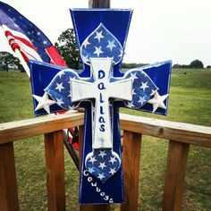 Dallas Cowboy Cross by Felicia Epperson Hull