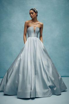 Stunning pale blue wedding dress | Anne Barge Wedding Dresses Spring 2020 | Dress for the Wedding  #weddingdresses #weddingdress #bluewedding Anne Barge Wedding Dresses, Classic Wedding Dress, Wedding Dress Trends, Colored Wedding Dresses, Bridal Dresses, Wedding Gowns, Wedding Hair, Bouquet Wedding, Bridal Fashion Week