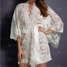 Women's Belted Lace Kimono Nightwear - USD $12.99