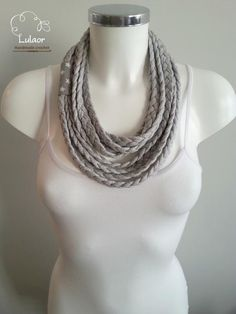 T-shirt necklace, t-shirt scarf by Lulaor on Etsy https://www.etsy.com/listing/267634273/t-shirt-necklace-t-shirt-scarf