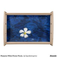 Plumeria White Flower Floral Patterned Food Tray