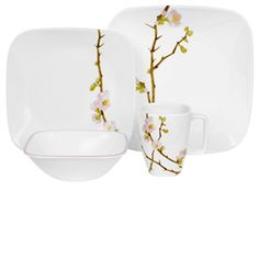 #Corelle Cherry Blossom Square 16pc #Dinner #Set