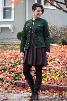 Already Pretty outfit featuring military jacket, brown tunic, burgundy ponte pants, Frye Jane boots