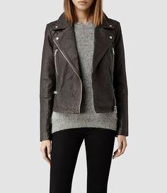 Womens Bleeker Leather Biker Jacket - Grey/Black