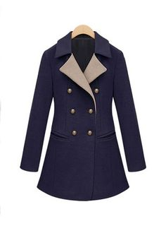 ++ sapphire blue plain double breasted tailored collar wool blend parka
