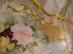 """""""Absolutely Breathtaking Masterpiece"""" Antique Unmarked Limoges French Rare LARGE SERVING HANDLED TRAY Hand Painted Superb Delicate Pastel Ro..."""