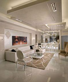 plafond lumineux salle de sjour blanche avec plafond suspendu