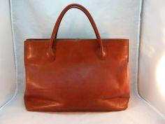 Monsac Original Carmel Italian Leather Tote Briefcase Laptop Book Bag  #Monsac