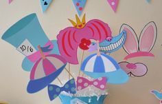 Alice in Wonderland Mad Hatter Tea Party PDF printable photo booth props - ideal for Onederland birthday, baby / bridal shower by GlitterInkDesigns on Etsy https://www.etsy.com/listing/248175596/alice-in-wonderland-mad-hatter-tea-party