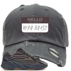 3b9fb2170c40b Yeezy Boost 700 Geode Sneaker Match Hello My Name Is Hype Beast Drake Gray  Distressed Dad Hat