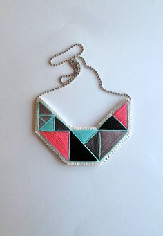 Embroidered #geometric #bib-necklace by #AnAstridEndeavor @Etsy @SFetsy Team Team Team Team Team