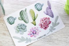 Your place to buy and sell all things handmade Filofax, Cactus Stickers, Planner Stickers, Watercolor Succulents, Pretty, Handmade, Stuff To Buy, Decor, Watercolors