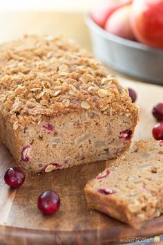You will love this moist, quick bread of apple, fresh cranberries and streusel. Perfect for holiday breakfast or any time! by theresa Apple Desserts, Just Desserts, Dessert Recipes, Cookbook Recipes, Apple Recipes, Best Homemade Bread Recipe, Quick Bread Recipes, Brunch Cake, Cranberry Bread