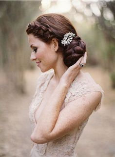 Bridal Hair Comb Robyn - by Jules Bridal Jewellery. http://www.julesbridaljewellery.com/collections/wedding-hair-combs/products/art-deco-inspired-wedding-hair-comb-robyn  Hair style pinned by http://paperandlace.com/2013/11/bun-braids-18-wedding-hair-ideas/