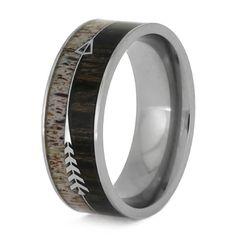 Deer Antler Ring With Silver Arrow, Ironwood Wedding Band-SIG3020