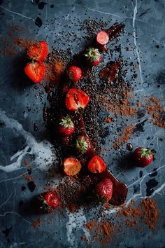 Strawberries with Walnut-Cinnamon Butter + Chia Seeds