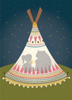 by Hilary Bird #teepee #bear #girl #night #illustration #light #art