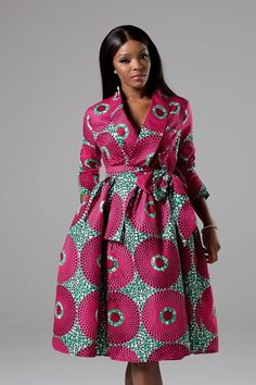 african fashion ankara African Print Wrap Fit & Flare Midi Dress Sexy yet conservative, our'Take me home to Mama' dress will make you feel ultra feminine this season. African Dresses For Women, African Print Dresses, African Attire, African Outfits, African Fashion Ankara, African Print Fashion, African Style, Kitenge, African Print Jumpsuit