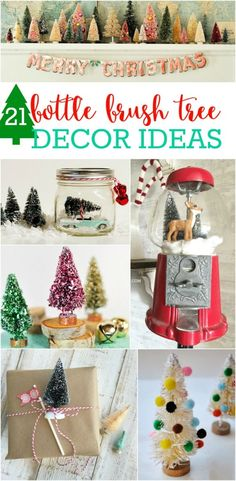 21 bottle brush tree ideas! SO CUTE!! Lots of fun and easy ways to incorporate all those little trees into your Christmas decor!