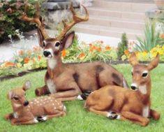 92 00 Garden Animal Statues Deer Decor Concrete