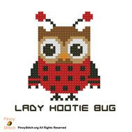 Embroidery Stitches Tutorial Hootie Lady Bug - Counted Cross Stitch Patterns of artist paintings, mini cross stitch, modern cross stitch. Stitcher Accessories and more. Crewel Embroidery Kits, Embroidery Stitches Tutorial, Cross Stitch Embroidery, Embroidery Designs, Cross Stitch Owl, Cross Stitch Animals, Cross Stitching, Modern Cross Stitch Patterns, Counted Cross Stitch Patterns
