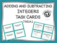 Adding & Subtracting Integers with Additive Inverse Task Cards Grade Integers Activities, Class Activities, Numeracy, Classroom Activities, Adding And Subtracting Integers, Seventh Grade Math, Negative Integers, Negative Numbers, Eureka Math