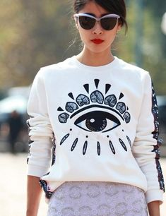 Looks like the shirt needs sunglasses to counteract the bling too | Milan Fashion Week Street Style | ELLE UK
