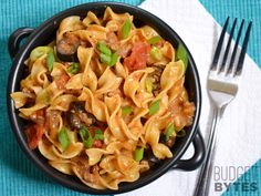 Beef Taco Pasta - Budget Bytes****Quick, easy, and yummy.  Will add veggies to it next time for more of a one pot meal.  I did mix sour cream, coriander, and lettuce into my serving.  A bit of salsa would be good too.