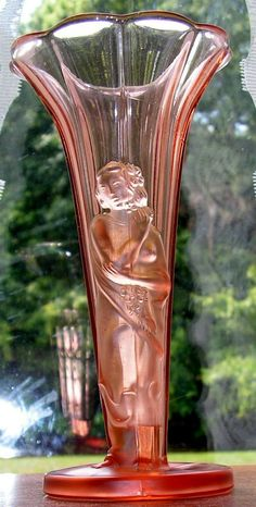 Art Deco Glass Vase Figural Lady  Pink Vintage Czech by Remtique, $195.00
