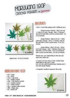 Marijuana leaf applique crochet pattern by Ahookashop on Etsy