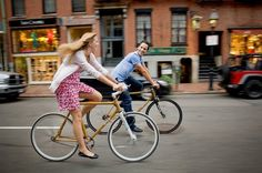 couple on a bicycle, cute engagement pic idea.