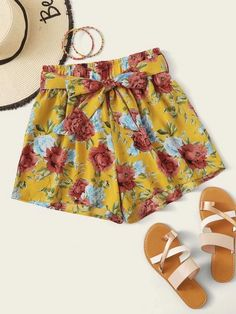 ((Affiliate Link)) Description Style:	Boho Color:	Multicolor Pattern Type:	Floral, All Over Print Details:	Belted, Paper Bag Waist Type:	Wide Leg Season:	Summer Composition:	100% Polyester Material:	Polyester Fabric:	Non-stretch Sheer:	No Fit Type:	Regular Waist Type:	High Waist Closure Type:	Elastic Waist Belt:	Yes