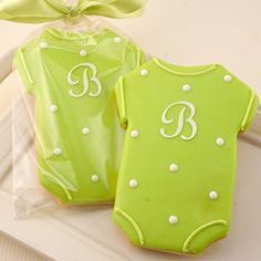 Monogrammed Baby Cookies, Baby Shower CookieFavors - 12 Decorated Sugar Cookie Favors