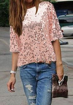 c9caa36a97d Pink Glitter Sparkly Sequin Top Round Neck Short Sleeve Fashion Clubwear  Party T-Shirt