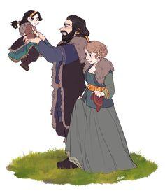 AU: Happy Family of Thorin, Fem!Bilbo and their baby Legolas, Tauriel, Kili, Hobbit Art, O Hobbit, Bilbo Baggins, Thorin Oakenshield, Character Concept, Character Art