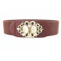 #NewChic - #NewChic Women Elastic Stretch Corset Waistband Metal Button Diamond Waist Belt - AdoreWe.com
