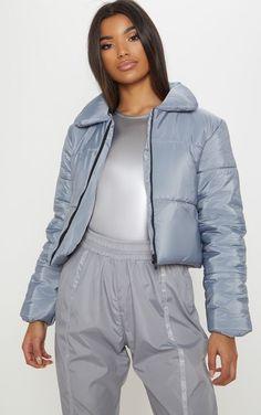 eaf2619a2da Grey Cropped Puffer Ootds, Puffer Jackets, Rain Jacket, Bomber Jacket,  Latest Fashion