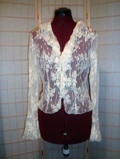 Express Sz 11/12 Juniors Ruffled Ivory Lace Coverup Shirt Top W/ Bell Sleeves #Express #ButtonDownShirt