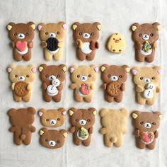 937 個讚好,22 則回應 - Instagram 上的 hisano(@hisano.rr):「 ☺︎ 11月30日発売の、#リラックマだっこビスケットbook HMで作るレシピが載っていたので、早速作ってみました アイシングでおめかししたら、とにかくカワイイ… 」 Kawaii Cookies, Bear Cookies, Galletas Cookies, Biscuit Cookies, Cute Cookies, Icebox Cookies, 30 Tag, Kawaii Dessert, Kawaii Bento