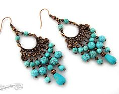 Turquoise chandelier earrings Boho jewelry by OohlalaBeadtique