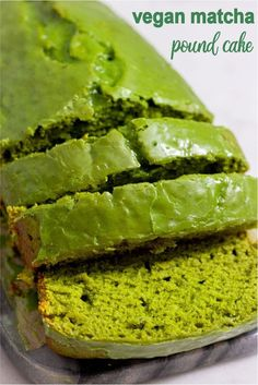 Rich, moist, and classic with a twist, my Vegan Matcha Pound Cake is the perfect texture, easy to make and totally vegan and oil-free! Vegan Dessert Recipes, Vegan Sweets, Whole Food Recipes, Cooking Recipes, Cooking Pork, Vegan Food, Cake Recipes, Comfort Foods, Keto Postres
