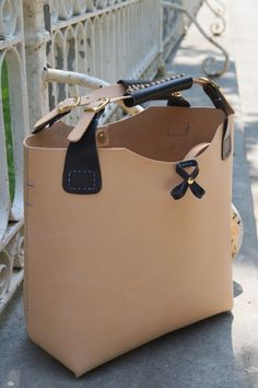 Tote Bag. Handcrafted uncolored leather Shopper Bag by by BagsOnly