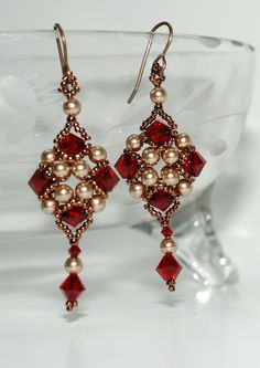 Beaded Swarovski Earrings by craftybeadcollection on Etsy