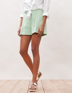 Lace shorts with tucks