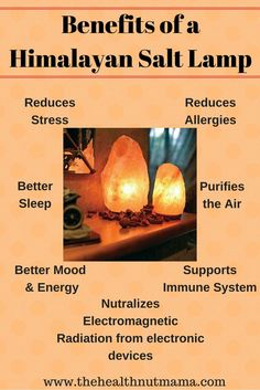 Benefits of Himalayan Salt Lamps - 9 Amazing Benefits of Himalayan Salt Lamps! I love them so much I have them in every room. Even the powder room! www.thehealthnutmama.com