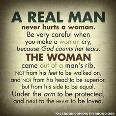 """Ephesians 5:28-29 (KJV) """"So ought men to love their wives as their own bodies. He that loveth his wife loveth himself. For no man ever yet hated his own flesh; but nourisheth and cherisheth it, even as the Lord the church:"""""""