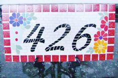 Placa de Número em mosaico revestida em azulejo